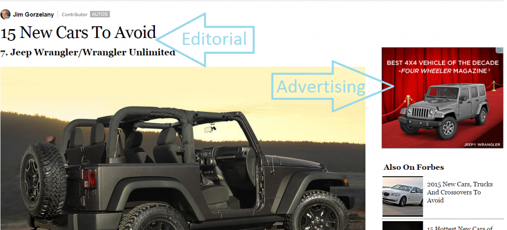 Ad for Jeeps in Forbes Article of Cars to Avoid