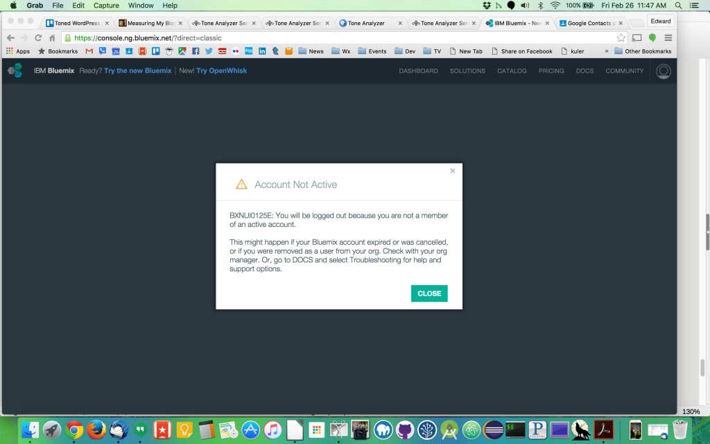 Locked Out of IBM BlueMix