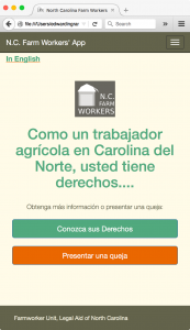Screencap of NC Farmworkers' App (Interactive Prototype)